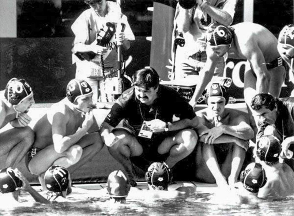 Ratko Rudić all'Olimpiade di Barcellona del 1992 con il Settebello