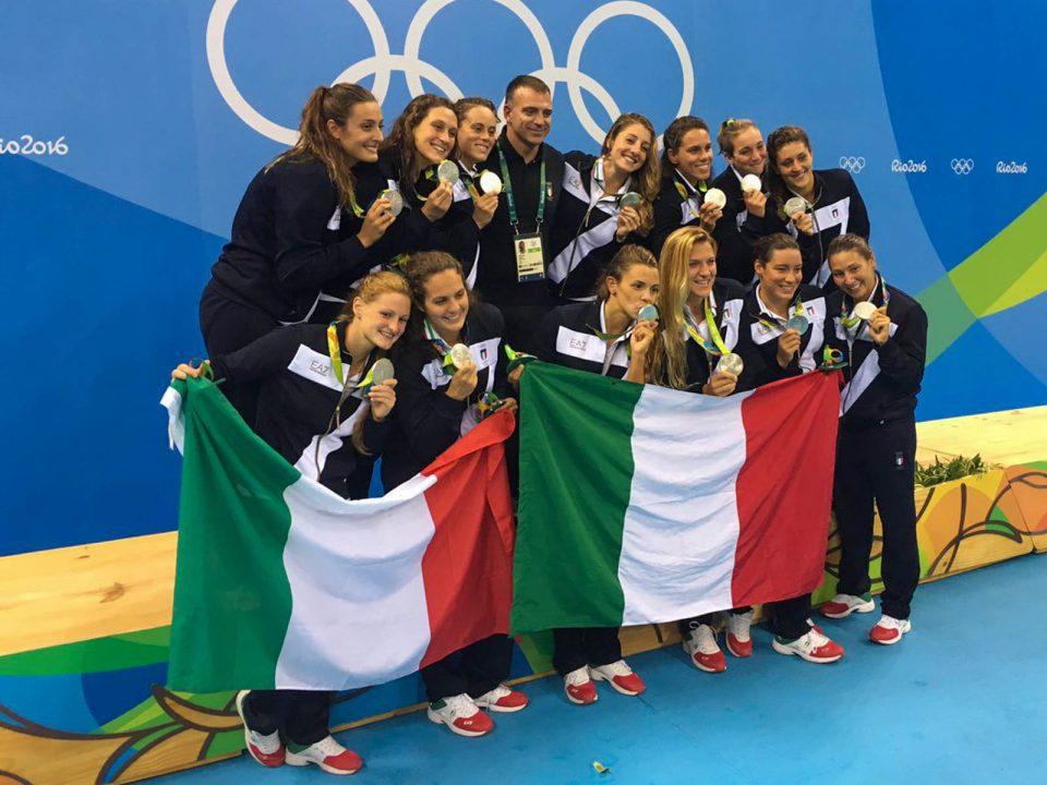 Tania Di Mario con il Setterosa - Argento Olimpiade Rio 2016